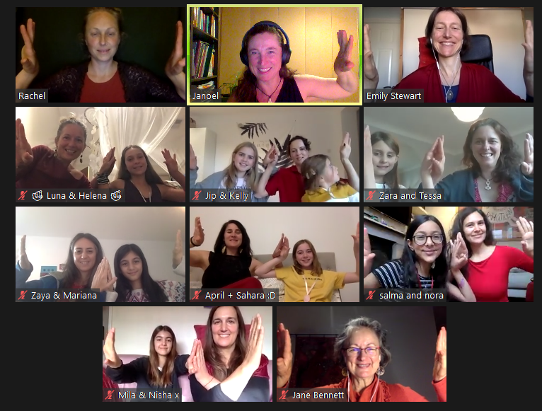 Screen shot of online meeting, 11 screens showing women and daughters smiling with thumbs up